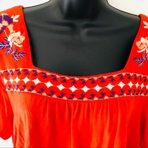 Anthropologie Tops - Anthropologie Orange Embroidered Top Size Large